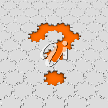 white jigsaw puzzles with orange question mark