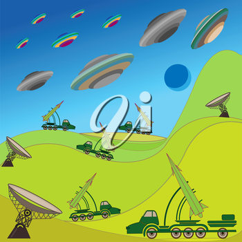 Flying plates of aliens are attacking the Earth. Military rocket unit keeps the defense. Hand drawing vector illustration