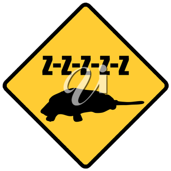 Royalty Free Clipart Image of a Sleeping Dog Sign