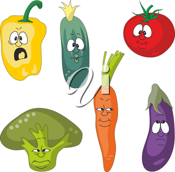 Vector.Emotion cartoon vegetables set 001