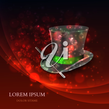 Magician Top Hat with magic particles. Vector illustration