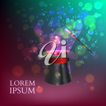 Magician Top hat with fireworks. vector illustration