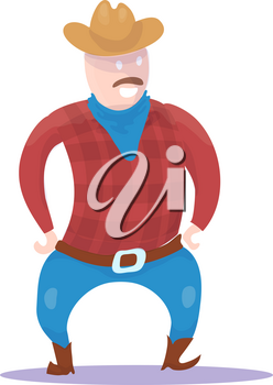 Hand Drawn Cowboy Character isolated on white background. Vector illustration