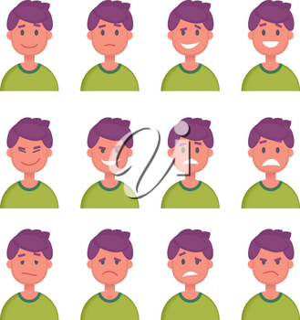 Set of Cartoon Character Faces with Different emotions. Vector illustration