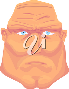 Cartoon Brutal Man Face with blue eyes. Vector Illustration