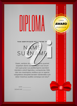 Certificate design in golden frame with red ribbon and bow