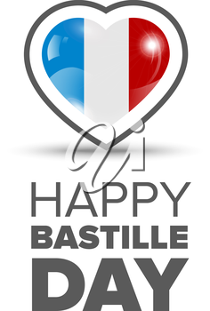 14th July Bastille Day of France. Happy Bastille day card. Celebration background with heart and text
