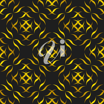 Abstract Golden Seamless pattern on a black background