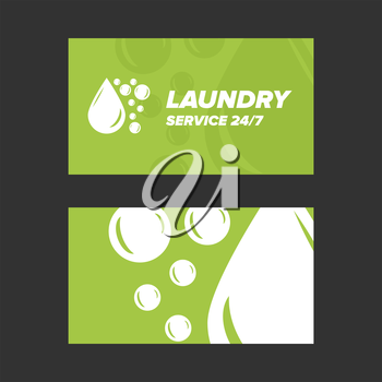 Green Laundry Service Business card two sides template