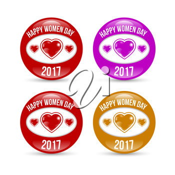 Happy Women day colored badge set with shadow