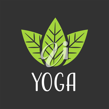 line leaf SPA and yoga vector Logo on black background
