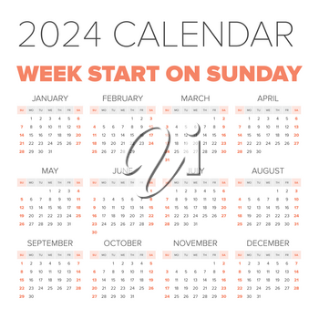 Simple 2024 year calendar, week starts on Monday
