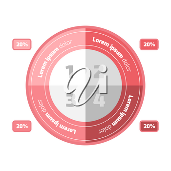 Flat design style circle infographic with sample text
