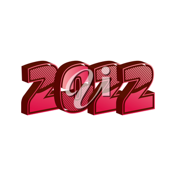 Three-dimensional 2022 new year sign on the black background