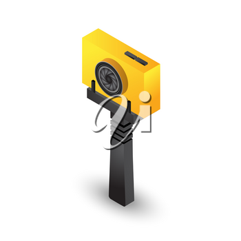 Isometric Selfie stick tripod with yellow action camera