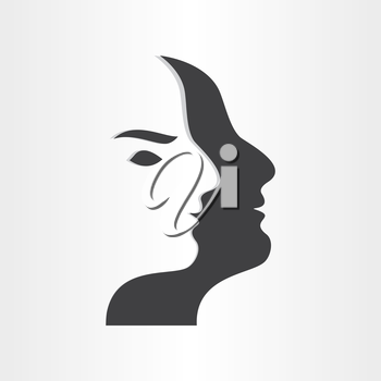stylized man face abstract design icon think brain head intelegence ideas background