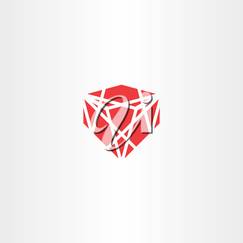 red crystal stone gem vector icon logo