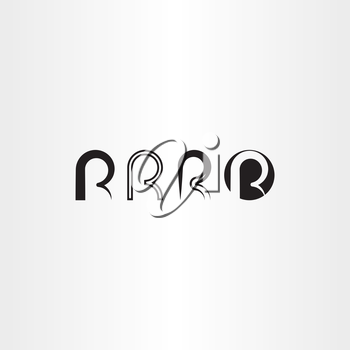 letter r set vector icon black collection