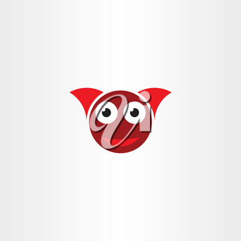 funny devil face with horns logo vector