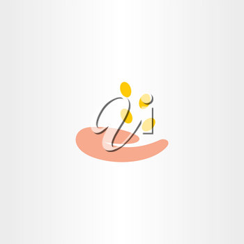 money falling in hand collecting coins icon
