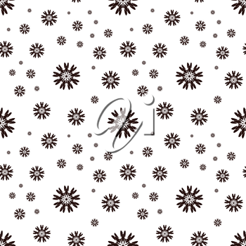 Seamless pattern with abstract flowers. Repeating modern stylish geometric background. Simple abstract monochrome vector texture.