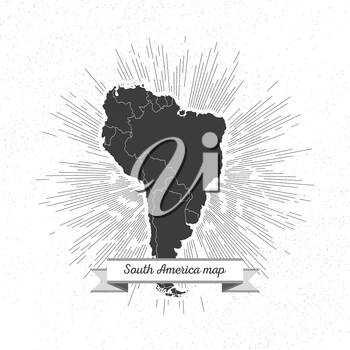 South america map with vintage style star burst, retro element for your design.