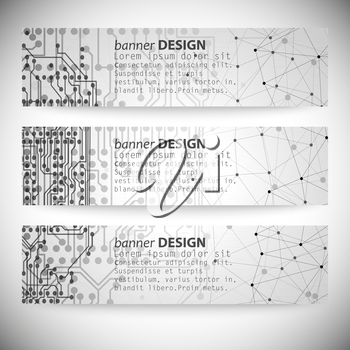 Set of horizontal banners. Molecule structure, gray background for communication