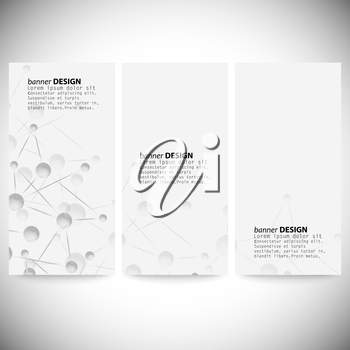 Set of vertical banners. Abstract blue background vector illustration.