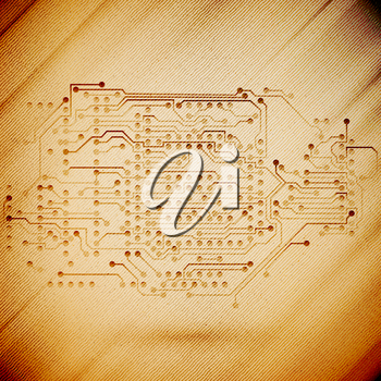 Microchip background, electronics circuit, wooden design vector illustration.