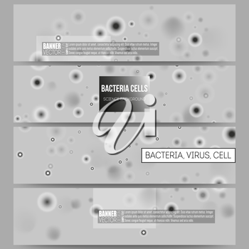 Set of modern vector banners. Molecular research, illustration of cells in gray, science vector background.