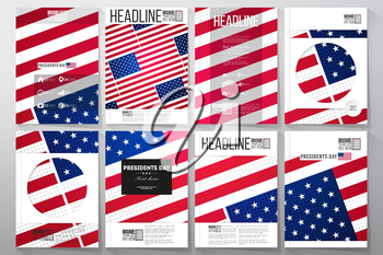 Set of business templates for brochure, flyer or booklet. Presidents day background, abstract poster with american flag, vector illustration.