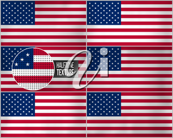 Set of american flags in dirty retro style with abstract halftone effect.