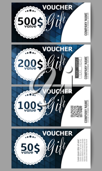 Set of modern gift voucher templates. Polygonal design vector, colorful geometric triangular backgrounds.