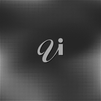 Halftone seamless vector background. Abstract halftone effect with white dots on black background.