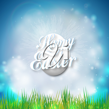 Happy easter card with easter egg. Bright spring vector background.