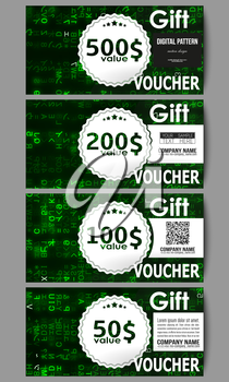 Set of modern gift voucher templates. Virtual reality, abstract technology background with green symbols, vector illustration.