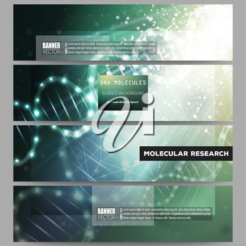 Set of modern vector banners. DNA molecule structure on dark green background. Science vector background.
