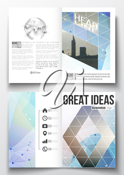 Set of business templates for brochure, magazine, flyer, booklet or annual report. Abstract colorful polygonal backdrop with blurred image, modern stylish triangular vector texture.