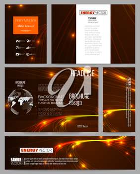Set of business templates for presentation, brochure, flyer or booklet. Abstract lines background, dynamic glowing decoration, motion design, energy style vector illustration.