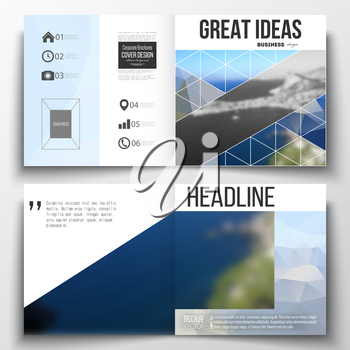 Set of annual report business templates for brochure, magazine, flyer or booklet. Colorful polygonal backdrop, blurred background, sea landscape, modern triangle vector texture.
