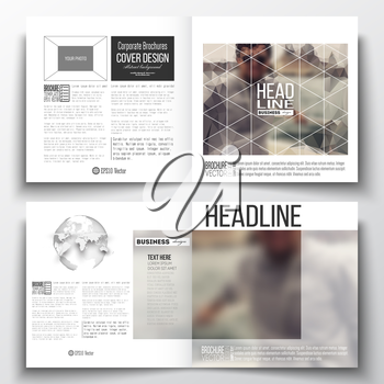 Set of annual report business templates for brochure, magazine, flyer or booklet. Polygonal background, blurred image, vacation, travel, tourism. Modern triangular vector texture.