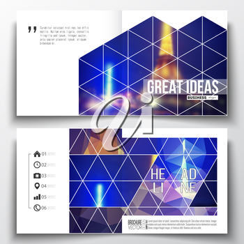 Set of annual report business templates for brochure, magazine, flyer or booklet. Dark polygonal background, blurred image, night city landscape, Paris cityscape, modern triangular vector texture.