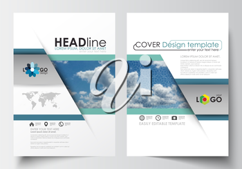 Business templates for brochure, magazine, flyer, booklet or annual report. Cover design template, easy editable blank, abstract blue flat layout in A4 size, vector illustration.