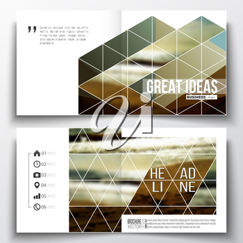 Vector set of square design brochure template. Colorful polygonal backdrop, blurred background, sea landscape, modern stylish triangle vector texture.