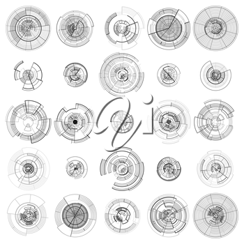 Set of abstract hud elements isolated on white background. High tech motion design, round interfaces, connecting systems. Science and technology concept. Futuristic vector