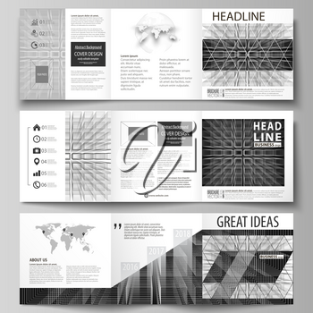Set of business templates for tri fold square design brochures. Leaflet cover, abstract flat layout, easy editable vector. Abstract infinity background, 3d structure with rectangles forming illusion o