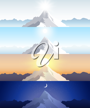Nature mountain set. A midday sun, dawn, sunset, night in the mountains. Landscapes with peak. Mountaineering, traveling, outdoor recreation concept. Abstract vector backgrounds for web, prints etc