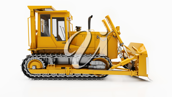 Heavy crawler bulldozer isolated on a light background with shadow