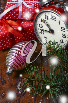Christmas decoration with clock,fir toys and gifts