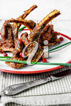 fragrant roast of lamb chops on the plate